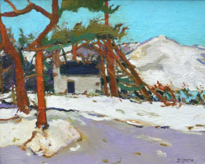 Winter Bothy and Pines