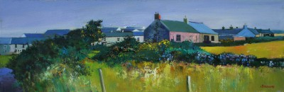 Davy BROWN, contemporary artist - Cottage with Gorse Bushes