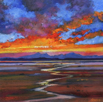 Davy BROWN, contemporary artist - Red Sunset over Arran