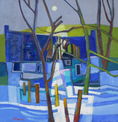 Davy BROWN, contemporary artist - Ruined Cottage in Snow