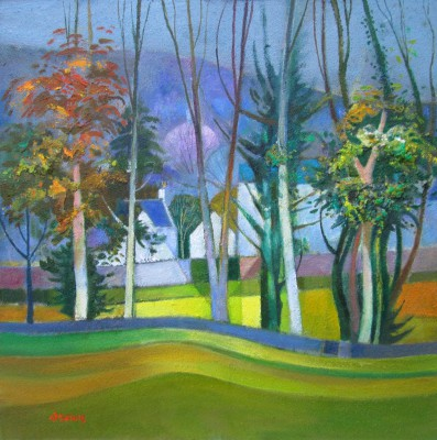 Davy BROWN, contemporary artist - Old Village through the Trees