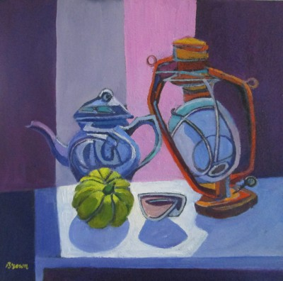 Davy BROWN, contemporary artist - Still Life with Teapot and Lamp