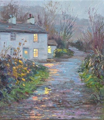 British Artist Mark PRESTON - Dusk, Slater's Cottage, Little Langdale