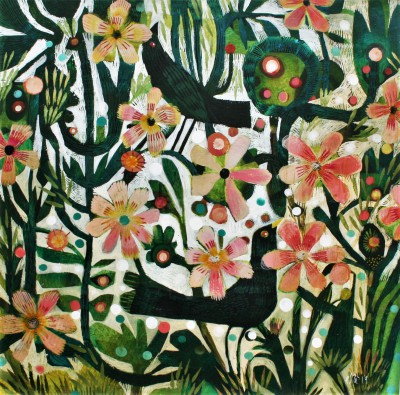 British Artist Este MacLEOD - Two Blackbirds