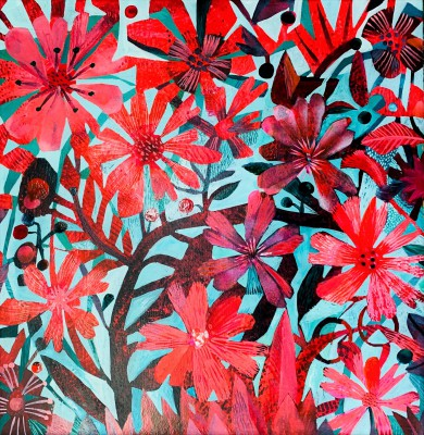 British Artist Este MacLEOD - Red Cosmos
