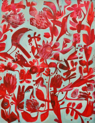 British Artist Este MacLEOD - Red Proteas
