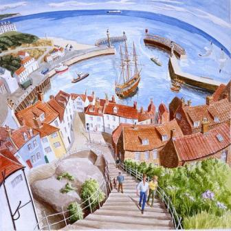 British Artist Francis Farmar - Whitby Harbour