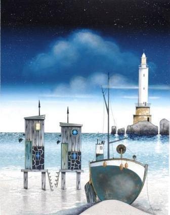 British Artist Gary Walton - Moonlight Mooring