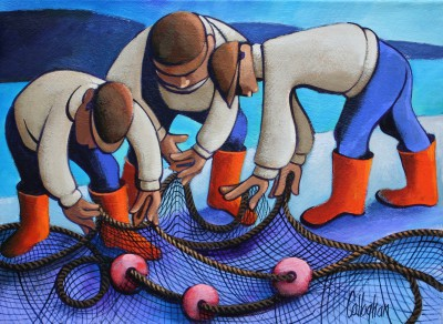 George CALLAGHAN, contemporary artist - Mending the Nets