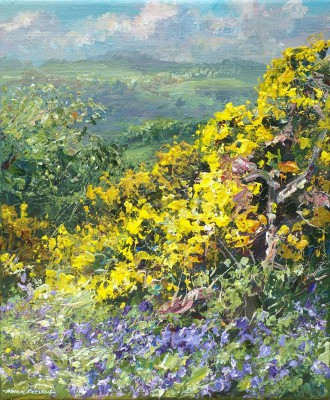 British Artist Mark PRESTON - Gorse and Bluebells, Ashleyhay