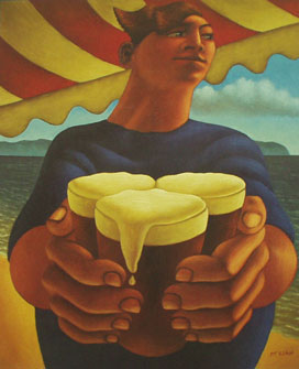 British Artist Graham McKean - Boy with Beers