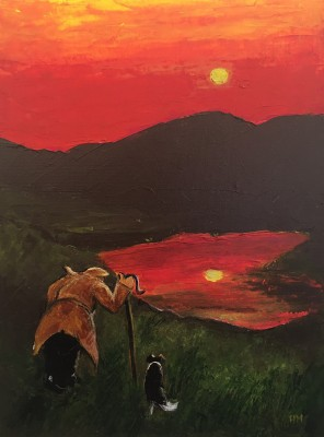 Red Sky at Night painting by artist Heather MOSELEY