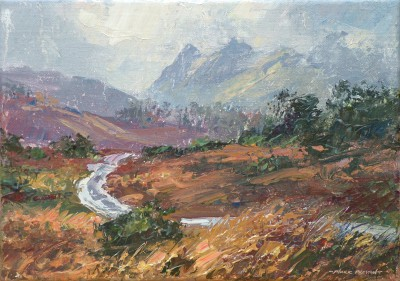British Artist Mark PRESTON - Hints of Light through the Rain, Langdale Fells
