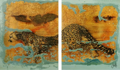 Jan COUTTS - Cheetah Savannah Downpour (Diptych)