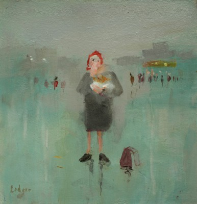 British Artist Janet LEDGER - Woman Eating Chips