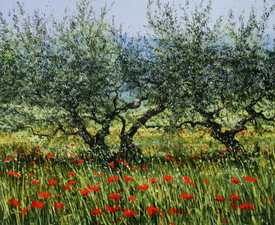 Jeremy BARLOW - Olive Trees with Poppies