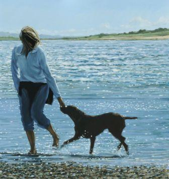 British Artist Jim Farrant - Girl and Dog in the Surf