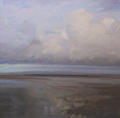 John BELL, contemporary artist - Clouds over Irvine lit by the early morning sun