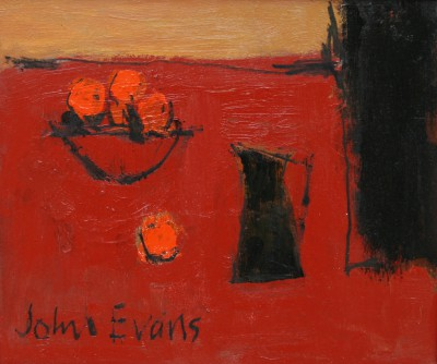 British Artist John EVANS - Black Jug with Oranges