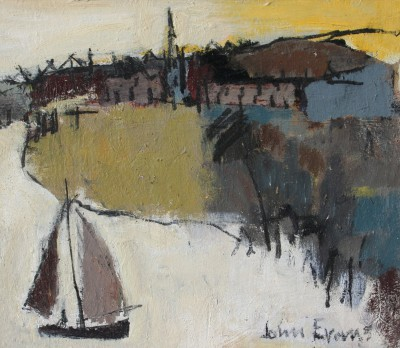 British Artist John EVANS - Sailing Boat, Ross on Wye