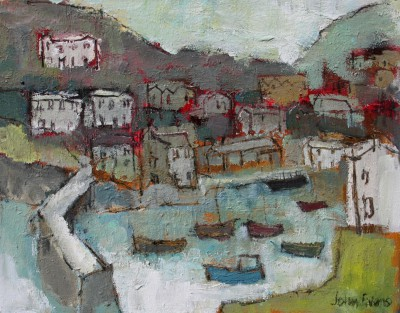 Summer Evening, Polperro painting by artist John EVANS
