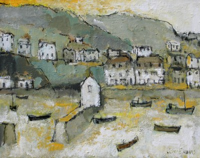 British Artist John EVANS - Morning Sunlight, Mevagissey