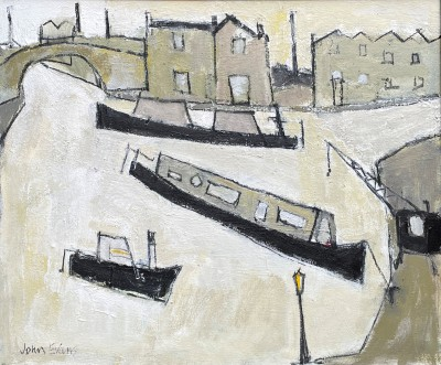 British Artist John EVANS - Canal Basin and Old Buildings