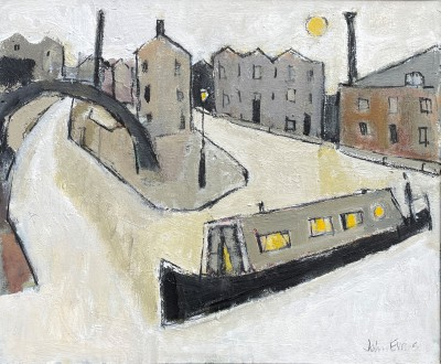 British Artist John EVANS - Early Morning, Cambrian Wharf