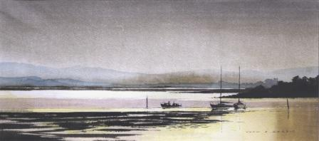 British Artist John HARRIS - Poole Harbour from Hamworthy