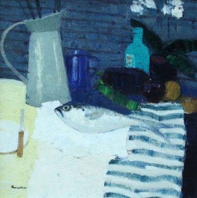 'Still Life with Fish and Blue Coffee Pot' painting