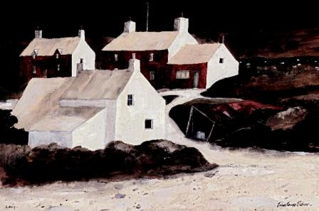 British Artist John Knapp Fisher - Aberiddy Cottages