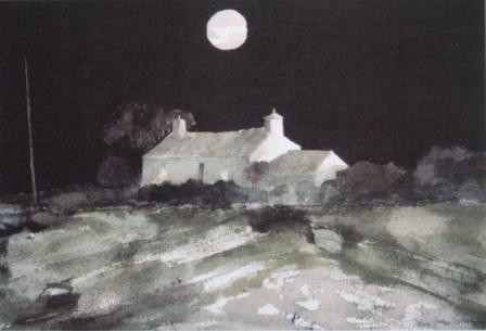 British Artist John Knapp Fisher - Moon Over Watch