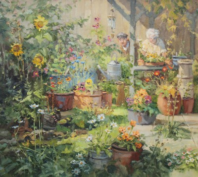 British Artist John LINES - Pollys Potting Shed