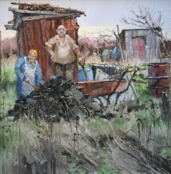 Manure Operatives painting by artist John LINES