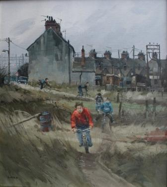 British Artist John Lines - Round The Block Racers