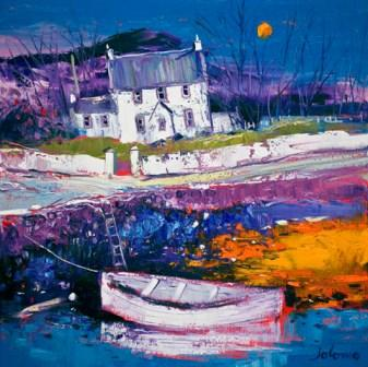 Limited Edition Prints Artist John Lowrie Morrison (Jolomo) - Beached Clinker At Croig