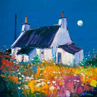 British Artist John Lowrie  Morrison (Jolomo) - Croft and Moon Isle of Gigha