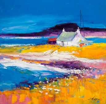 British Artist John Lowrie  Morrison (Jolomo) - Beached Boats Isle of Harris
