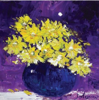 British Artist John Lowrie  Morrison (Jolomo) - Yellow Daisies Under the Moon