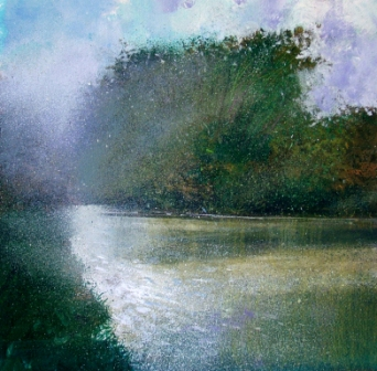 British Artist Jonathan TRIM - Early Morning Mist on River Stour