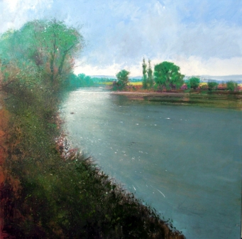 British Artist Jonathan TRIM - Sunlight on the River Severn