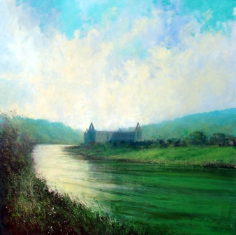 British Artist Jonathan TRIM - Late Afternoon at Tintern Abbey