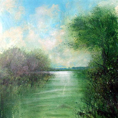 Towards Kemsford on the Windrush painting by artist Jonathan TRIM