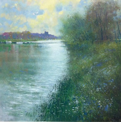 British Artist Jonathan TRIM - Towards Windsor on the Thames
