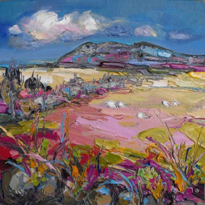 Judith BRIDGLAND, contemporary artist&nbsp;-&nbsp;<span style='color:red;font-size: 200%'>&#8226;</span> Distant Sheep Grazing