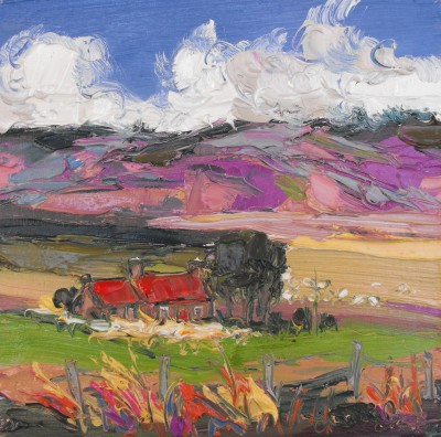 Judith BRIDGLAND, contemporary artist - Sheep by Red Roofed Cottage, Glenlivet