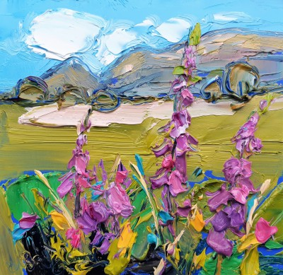 'Foxgloves, Looking Towards the Campsies' painting