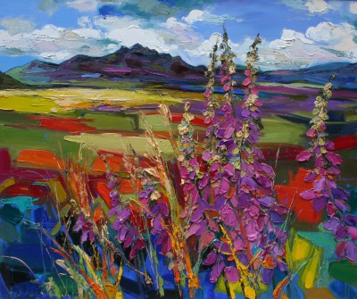 Judith BRIDGLAND, contemporary artist&nbsp;-&nbsp;<span style='color:red;font-size: 200%'>&#8226;</span> Foxgloves with Ben Loyal