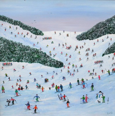 Ski Whizz painting by artist Judy JOEL