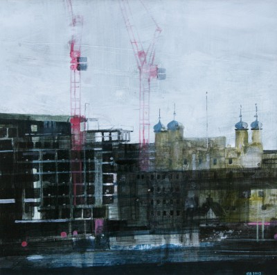 British Artist Julian SUTHERLAND-BEATSON - The Tower and Cranes
